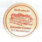 VINTAGE SCHAEFER WORLD'S FAIR 1964 BEER COASTER  NOS