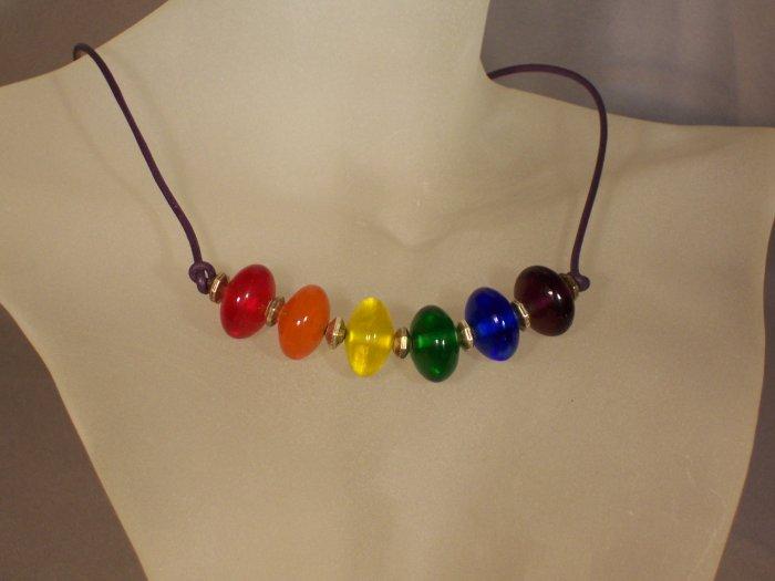 Rainbow disc necklace