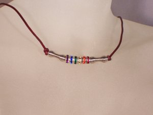 Rainbow crystal rondelle necklace