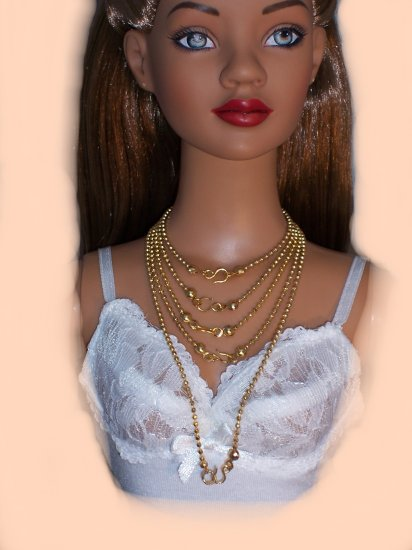 Gold ball chain necklace set - Fashion Doll Jewelry