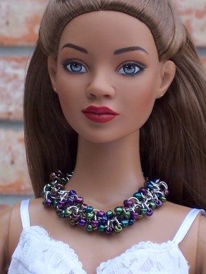 Beaded Maille necklace OOAK - BJD and Fashion Doll Jewelry