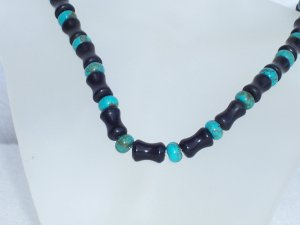 Turquoise and blackstone necklace