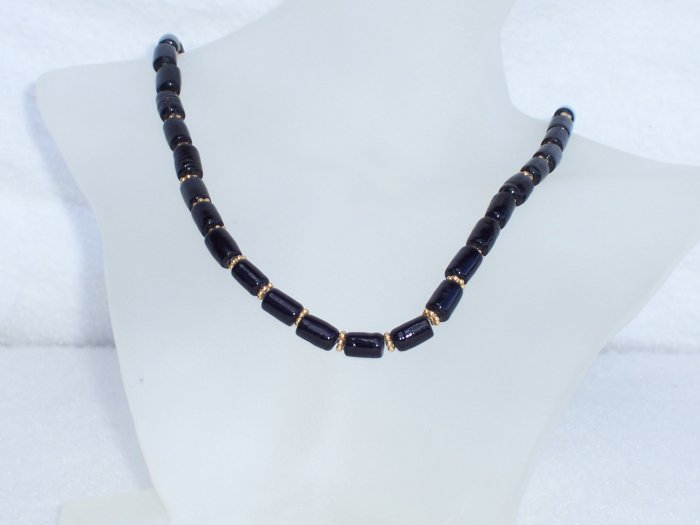 Black glass and vermeil necklace