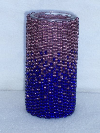 Beaded candle - purple/blue