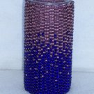 Beaded candle - purple/blue