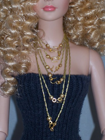 6 pc Gold floss necklace set - Fashion Doll Jewelry