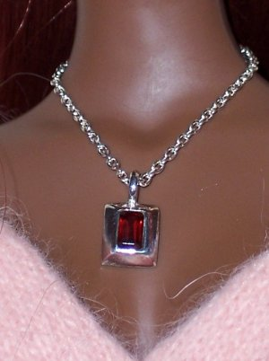Sterling and Garnet pendant - Fashion Doll Jewelry