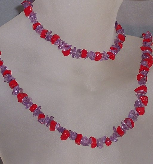 Red Hat jewelry- Coral and amethyst chip set