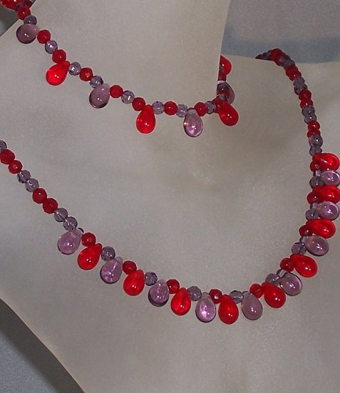 Red Hat jewerly- Red and amethyst drops set