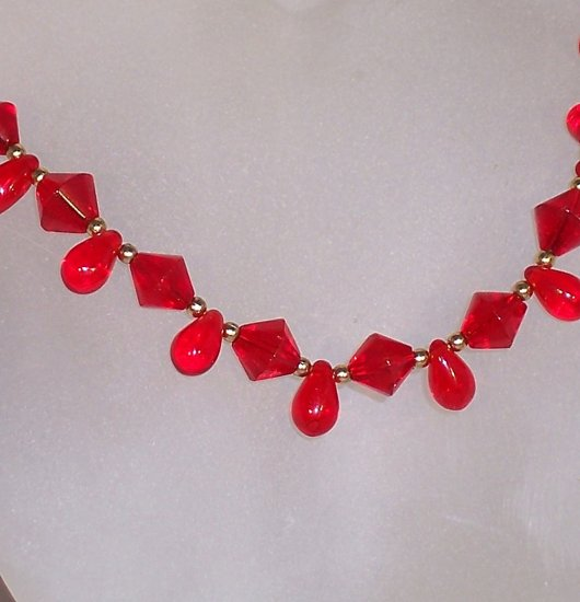 Ruby red drop necklace