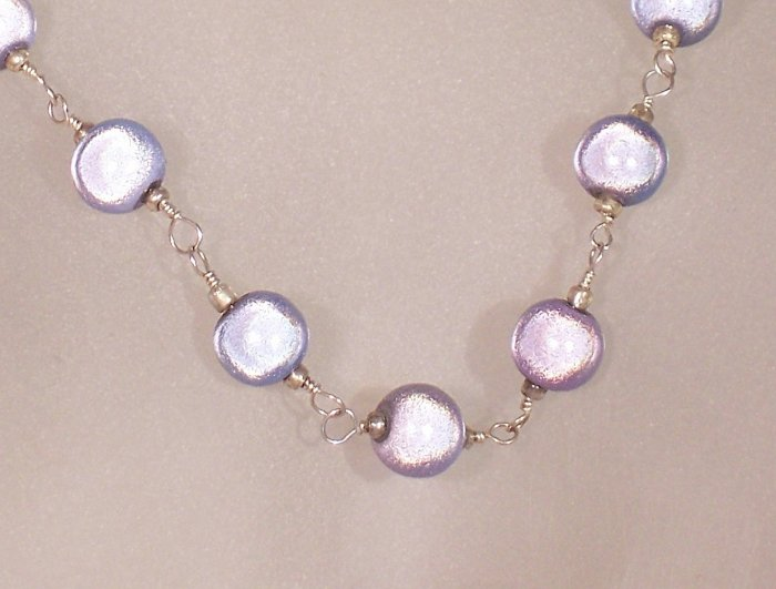 "Blue wonder bead ""Tin Cup"" style necklace"