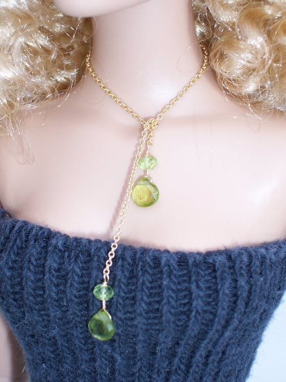 Peridot drop lariat necklace - Fashion Doll Jewelry
