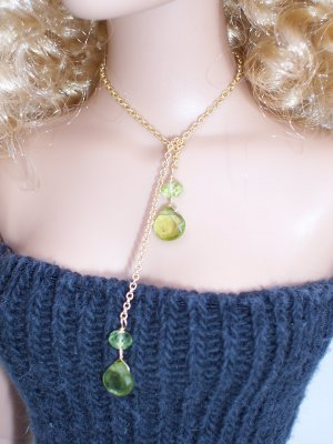 Peridot drop lariat necklace - Fashion Doll Jewelry