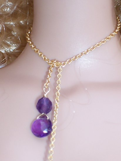 Amethyst drops lariat necklace- Fashion Doll Jewelry
