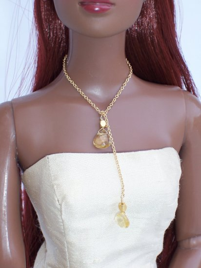 Citrine drop lariat necklace - Fashion Doll Jewelry