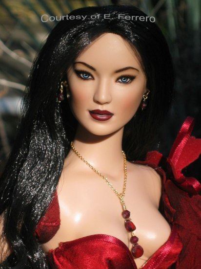 Garnet drop lariat necklace- Fashion Doll Jewelry