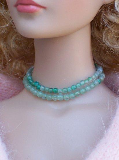 Green stone 2 row choker - Fashion Doll Jewelry