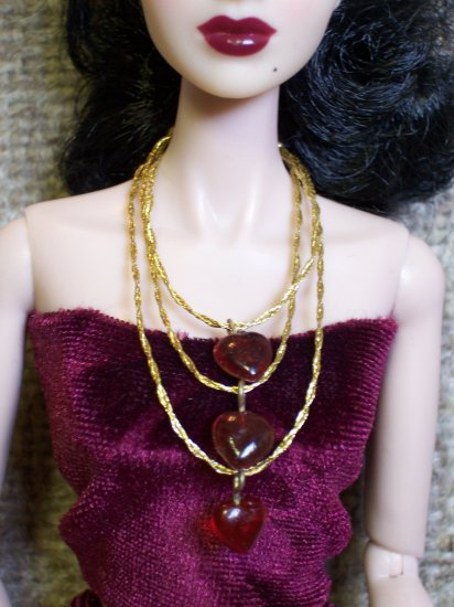 Three hearts necklace - Fashion Doll Jewelry