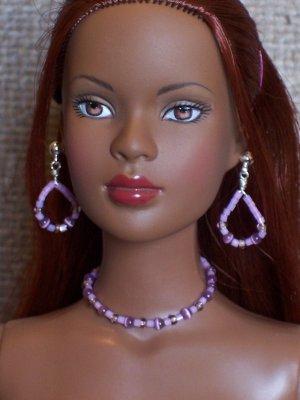 Lavender cat's eye set - Fashion Doll Jewelry
