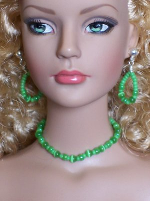 Green cat's eye set- Fashion Doll Jewelry