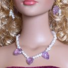 Carved Amethyst leaves and pearls - Fashion Doll Jewelry