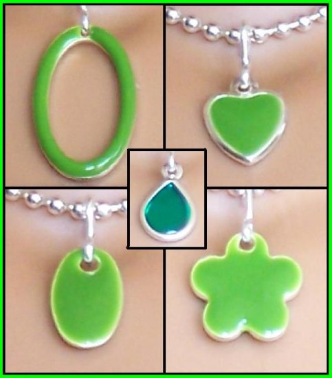 Green Easy Switch pendant set- Fashion Doll Jewelry