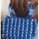 Blue stripe beaded purse - Fashion Doll Accessories