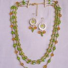 Green and gold glass set - Gold Plate Jewelry for Her