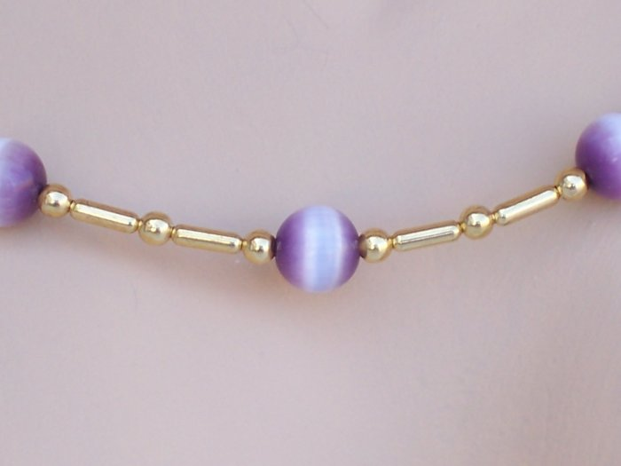"""Cat's eye """"Tin Cup"""" style set - Gold and purple"""