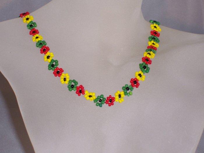 Rasta Daisies necklace