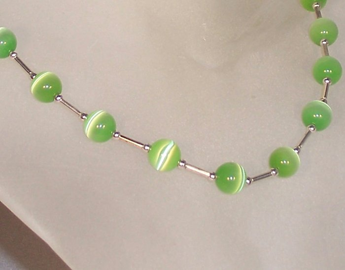 "Lime green cat's eye ""Tin Cup"" style set"