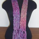Mini berry tone boucle scarf with fringe