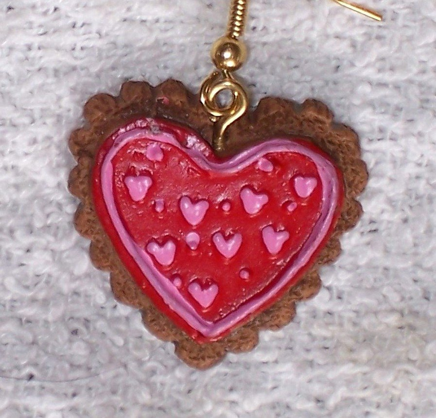 Red with pink hearts n dots earrings