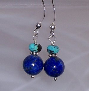 Lapis Lazuli, turquoise and sterling earrings