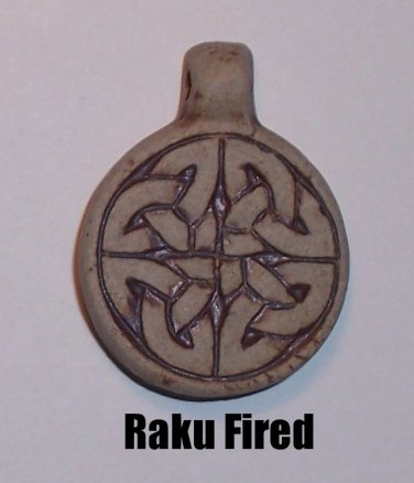 Raku ceramic pendant- Simple Celtic Knot