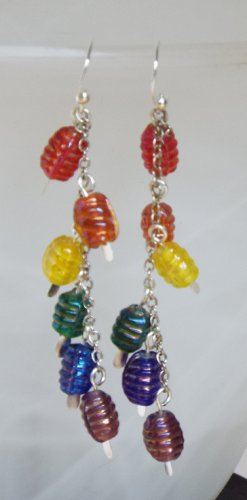 Rainbow Barrel Cluster Earrings
