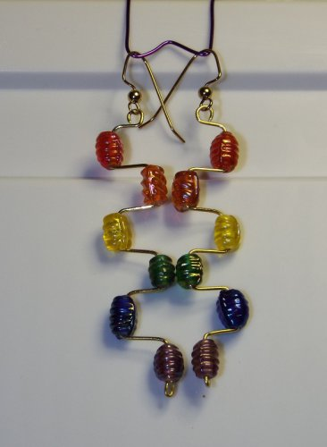 Rainbow Offset Dangle Earrings