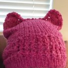 Kitty Knit Hat- Pink Boucle yarn
