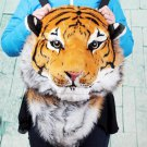 Large Orange Plush Tiger Head Backpack Unisex
