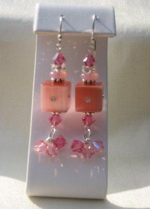 Pink Swarovski Crystal Dangle Earrings with .925 Sterling Silver