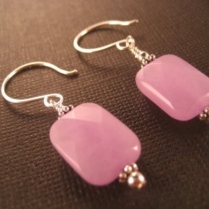 Handcrafted Artisan Earrings with Lavendar Quartz Gemstones and Sterling Silver