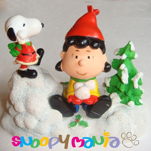 Snoopy ornament: Lucy getting to throw snowballs
