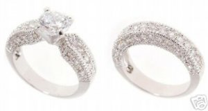 18k Gold Plated Wedding ring set with 67 CZ's