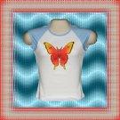 Neon Glow Tattoo Butterfly Ladies Jr Cap Sleeve Raglan T-Shirt MED