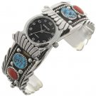 Navaho Ladies Cuff Watch Bracelet Silver Turquoise and Coral
