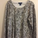 Karen Scott Women Leopard Extra Large Long Sleeve Top A