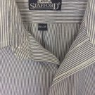Stafford Cotton Blend Men's Blue White Stripe Long Sleeve Dress Shirt 16.5 Z32