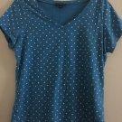 Bandolino Blue V Neck Shirt Short sleeve White Polka dot print Top Medium.  T