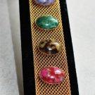 Sarah Coventry Bracelet, Sonnet mesh, Vintage signed faux gemstone gold tone bracelet