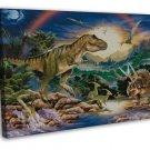 Dinosaur Volcanoes Art Murals Wall Decor 16x12 FRAMED CANVAS Print